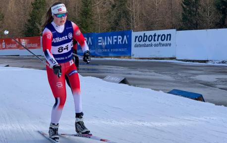 Vilde Nilsen i sporet under world cup i Altenberg